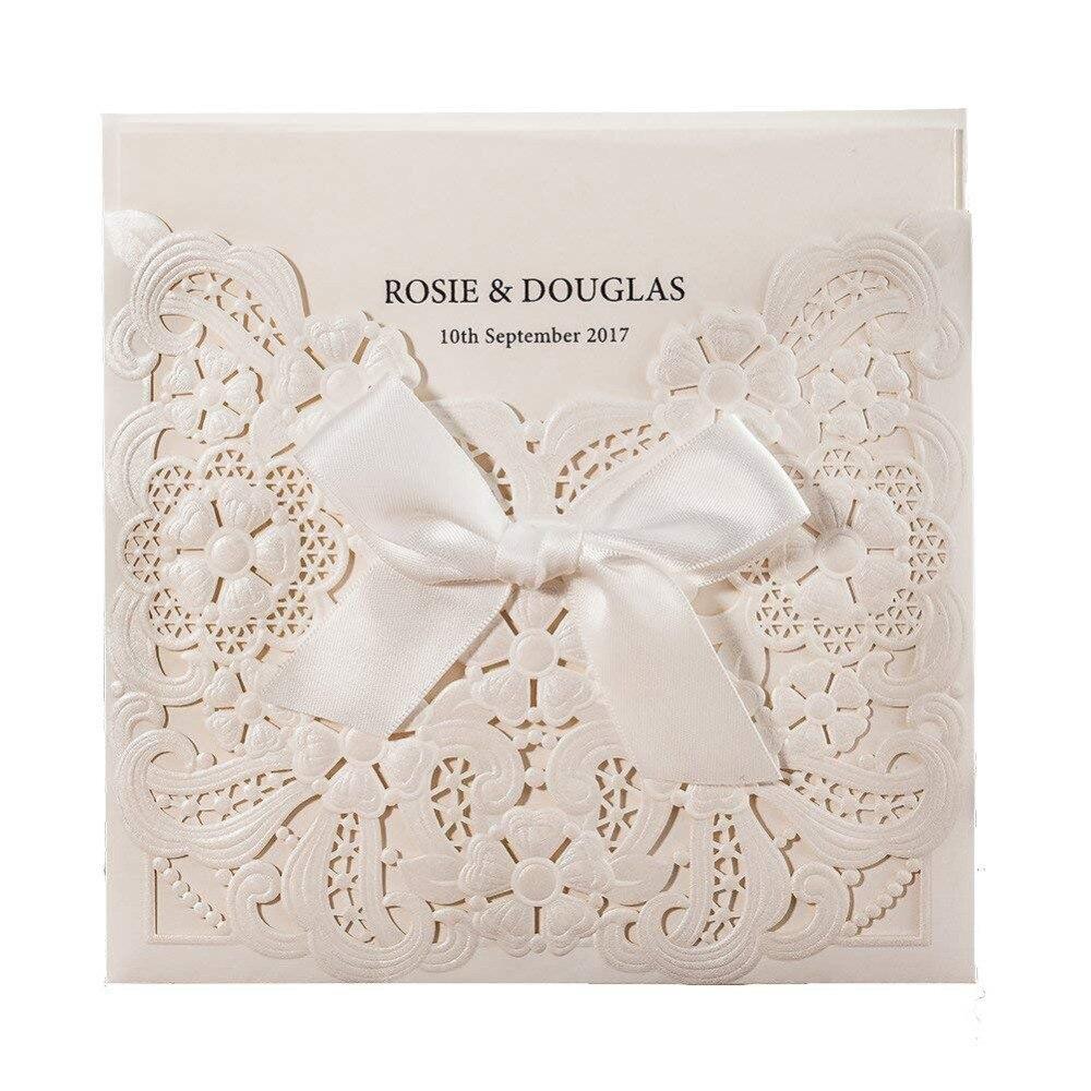 100 개/몫 레이저 컷 결혼식 초대장 카드 bowknot 진주 흰색 빈 꽃 rsvp 및 감사 카드 사용자 정의 cw6112-에서카드 & 초대장부터 홈 & 가든 의  그룹 1