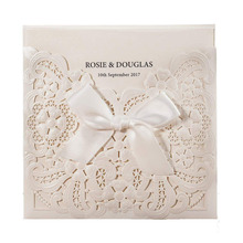 100pcs/lot Laser Cut Wedding Invitations Card with Bowknot Pearl White Hollow Floral RSVP and Thank You card Customizable CW6112