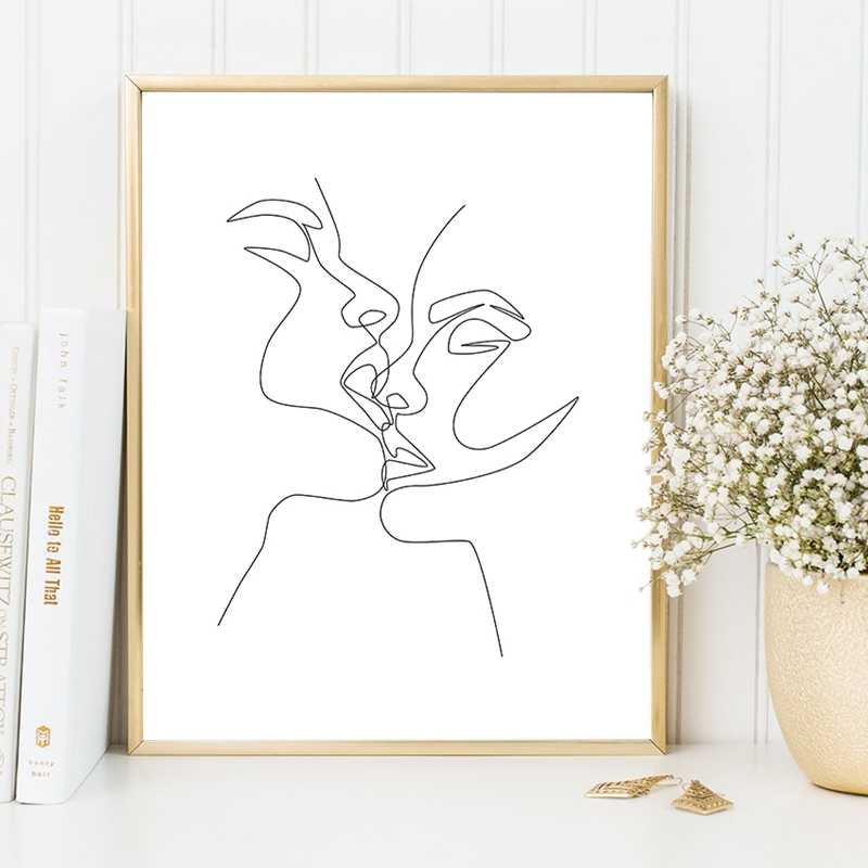 Couple Kiss Wall Art Canvas Posters Prints One Line Drawing Minimalist Painting Black White Intimacy Artwork Poster Home Decor