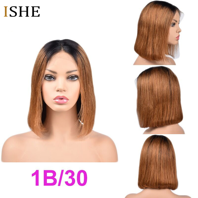 HTB1i0kWbcrrK1RjSspaq6AREXXa0 13x6 Big Lace Front Human Hair Wigs Straight Ombre Blonde Red Bob Wigs Glueless Preplucked Remy Hair Full End For Women Black