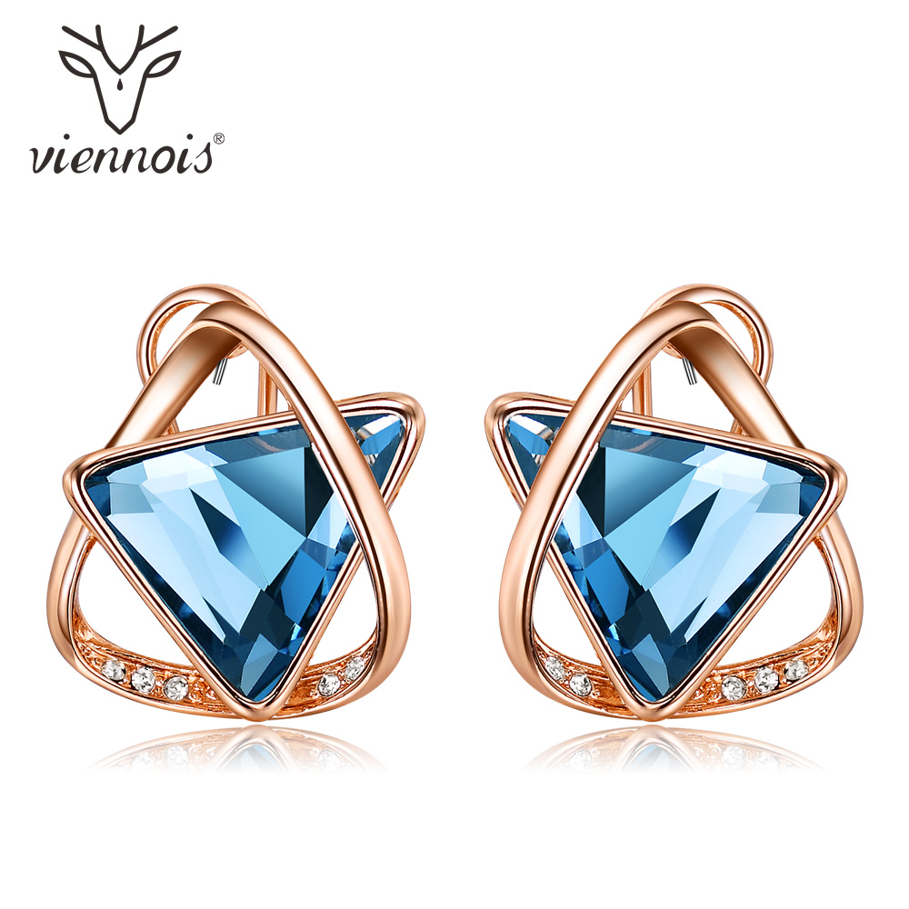 Viennois Rose Gold Color Stud Earrings for Women Rhinestone Blue Geometric Crystal Earrings Triangle Layers Earrings pair of trendy filigree rose gold rhinestone leaf fringe earrings for women