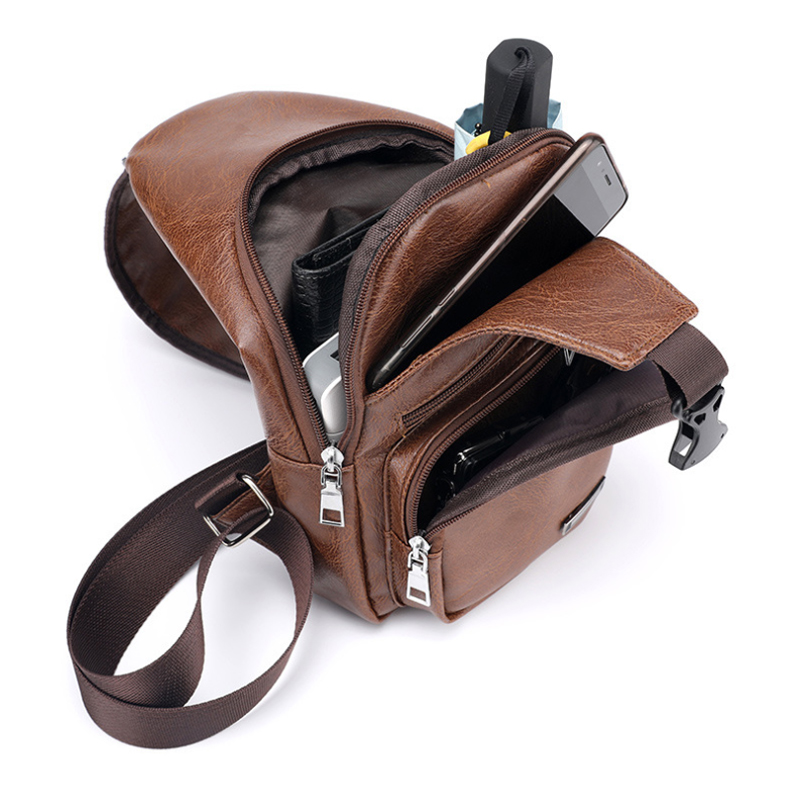 Men's Crossbody Bags Men's USB Chest Bag Designer Messenger bag Leather Shoulder Bags Diagonal Package 2019 new Back Pack Travel 9