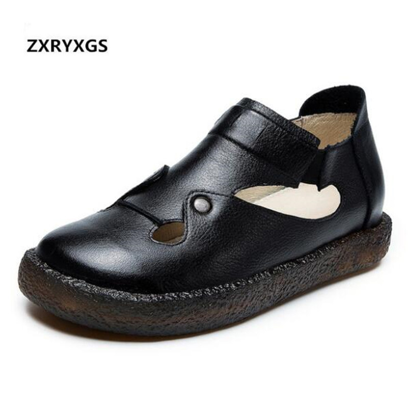 ZXRYXGS Brand Shoes Women Loafers 2019 New Spring Cowhide Leather Shoes Woman Non slip Comfort Breathable