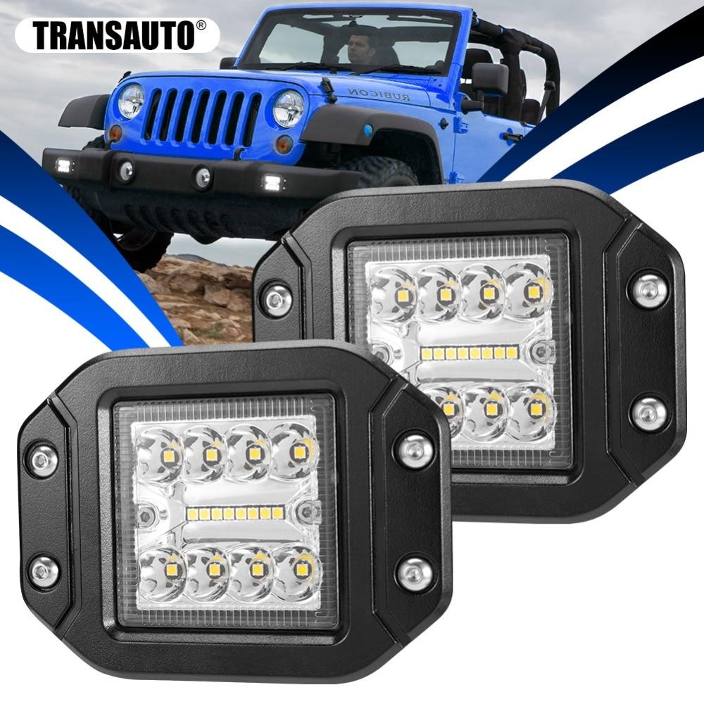 2 Pcs Flush Mount Led Work Lights 5 Inch Combo Beam LED Light Bar Driving Lights