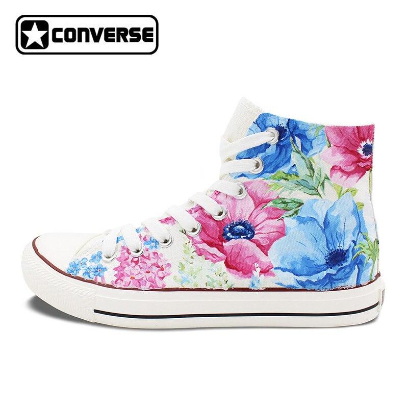 colourful converse all star hand painted shoes nature flower floral original design custom men. Black Bedroom Furniture Sets. Home Design Ideas