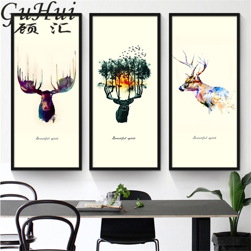 Nordic Abstract Animal Wallpapers Colored Deer Forest