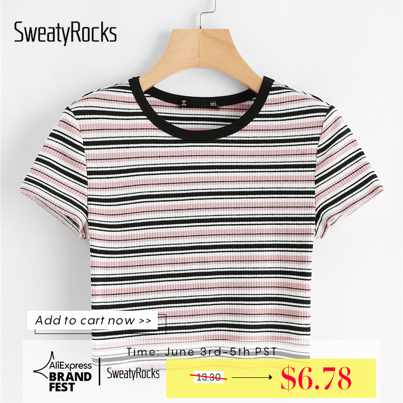 Sweatyrocks Contrast Tape Striped Print Ribbed Tee Short Sleeve Round Neck Tops Women Summer Stretchy Slim Fit Crop T-Shirt