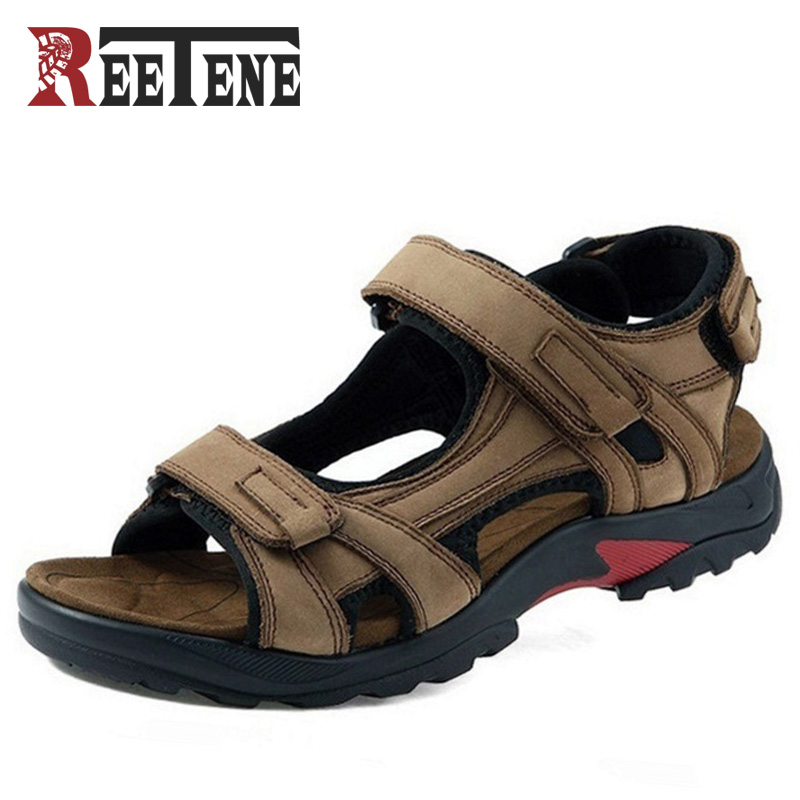 REETENE 2017 New Men Sandals Comfortable Summer Most Popular Outside Casual Mesh Shoes Men Genuine Leather Sandals Sandalias ...