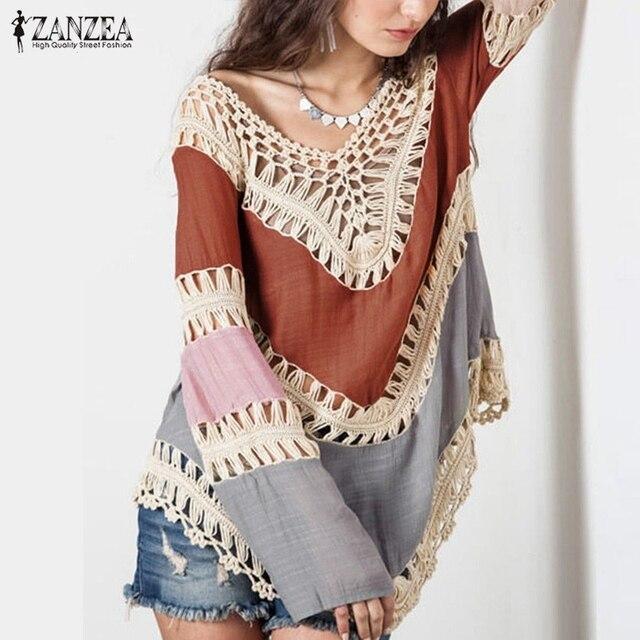 fd6fdb36ad Blusas 2018 Summer Style ZANZEA Women Boho V-Neck Long Sleeve Hollow Bikini  Cover Up