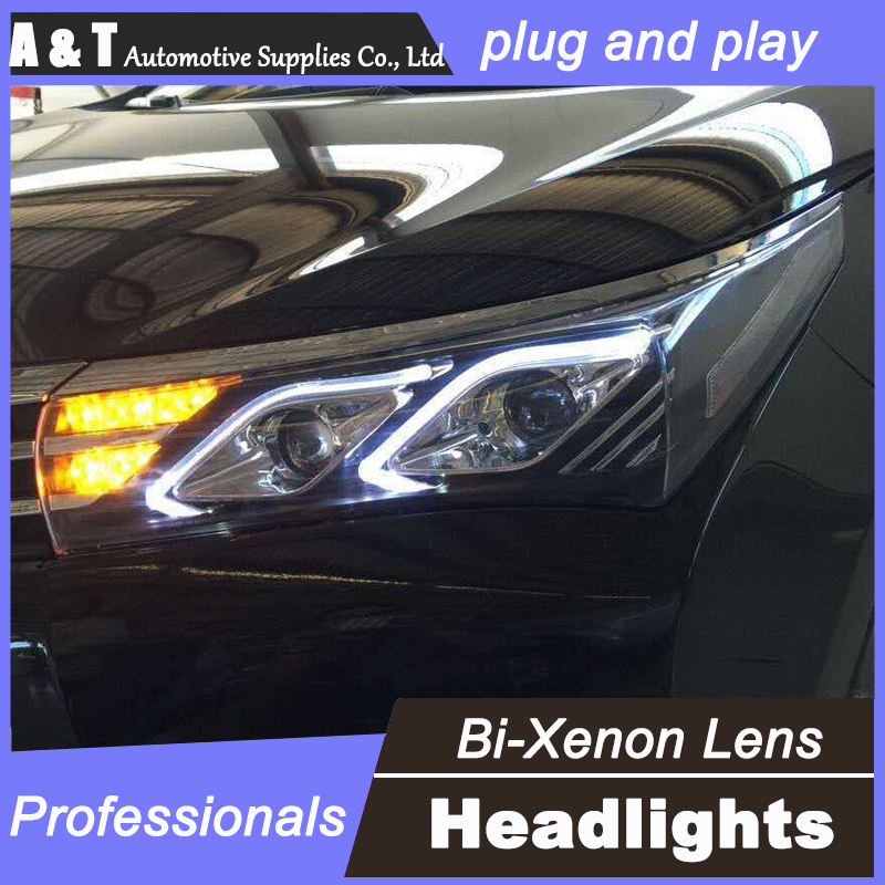 цена на car styling For Toyota Corolla headlights U angel eyes DRL 2014 For Toyota Corolla LED light bar DRL bi xenon lens h7 xenon