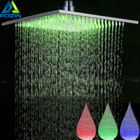 Brushed Nickel SHower Head led light 16 inch Rainfall Bath Shower Head Square Shower Faucet replace Head