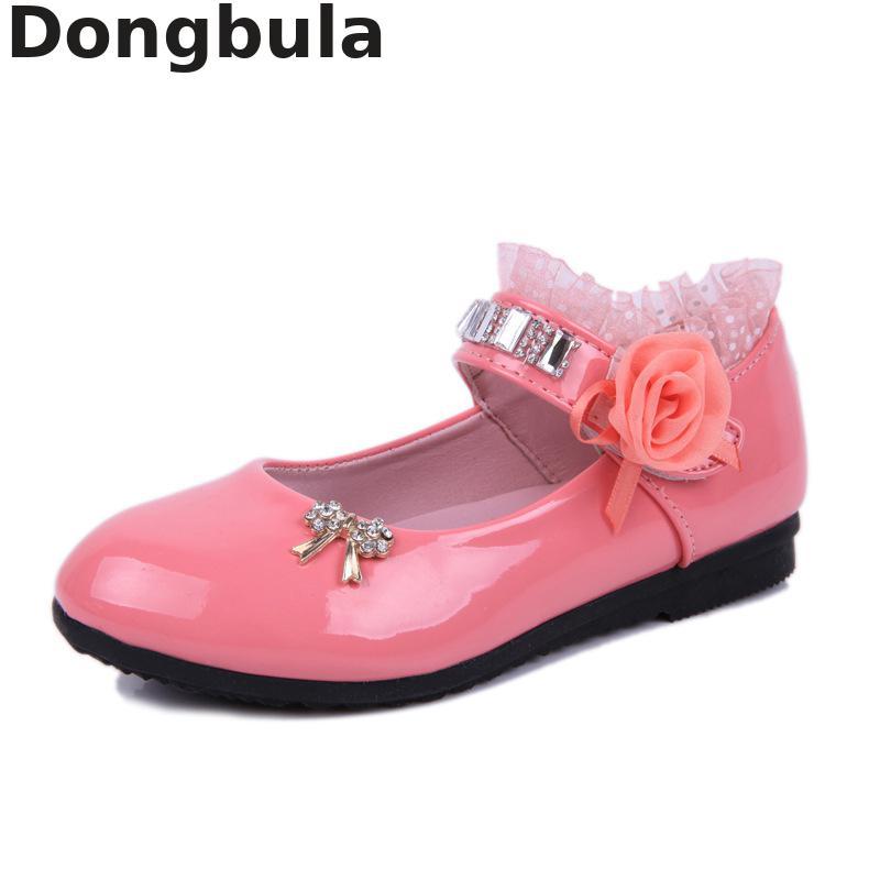 Kinder Schuhe Für Mädchen Frühjahr Neue Prinzessin Spitze Leder Schuhe Mode Niedlichen Bogen Strass Hochzeit Schuhe Student Party Dance