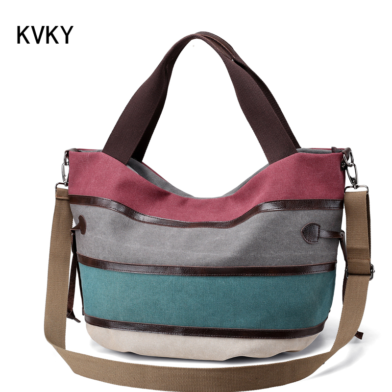 KVKY Brand Canvas Striped Women Shoulder Bag Messenger Bags High Quality Casual Tote Big Handbag travel with long belt bolsas