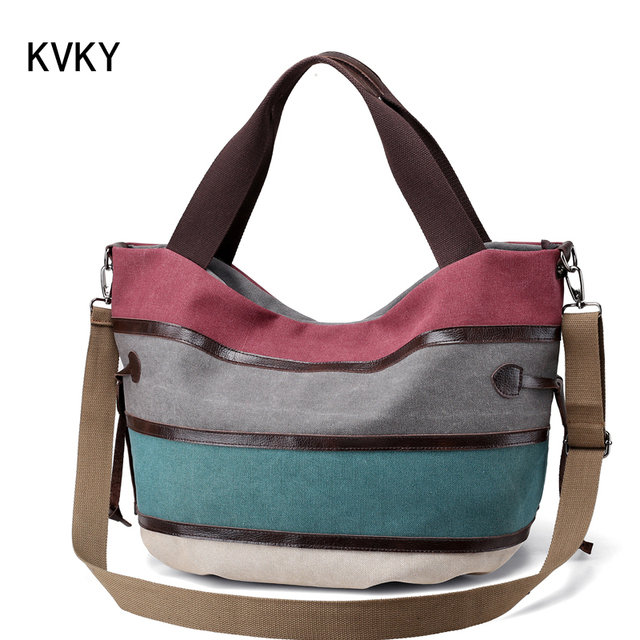 3c3e0196b3 KVKY Brand Canvas Striped Women Shoulder Bag Messenger Bags High Quality Casual  Tote Big Handbag travel with long belt bolsas