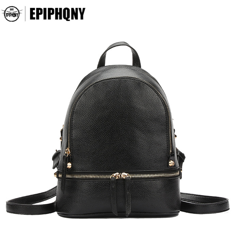 Epiphqny Famous Brand Simple Women PU Leather Litchi Small Backpack Daypack Fashion Minimalist Mini Bagpack Black Back Pack