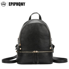 Epiphqny Famous Brand Simple Women PU Leather Litchi Small Backpack Daypack Fashion Minimalist Mini Bagpack Zwartrugzak
