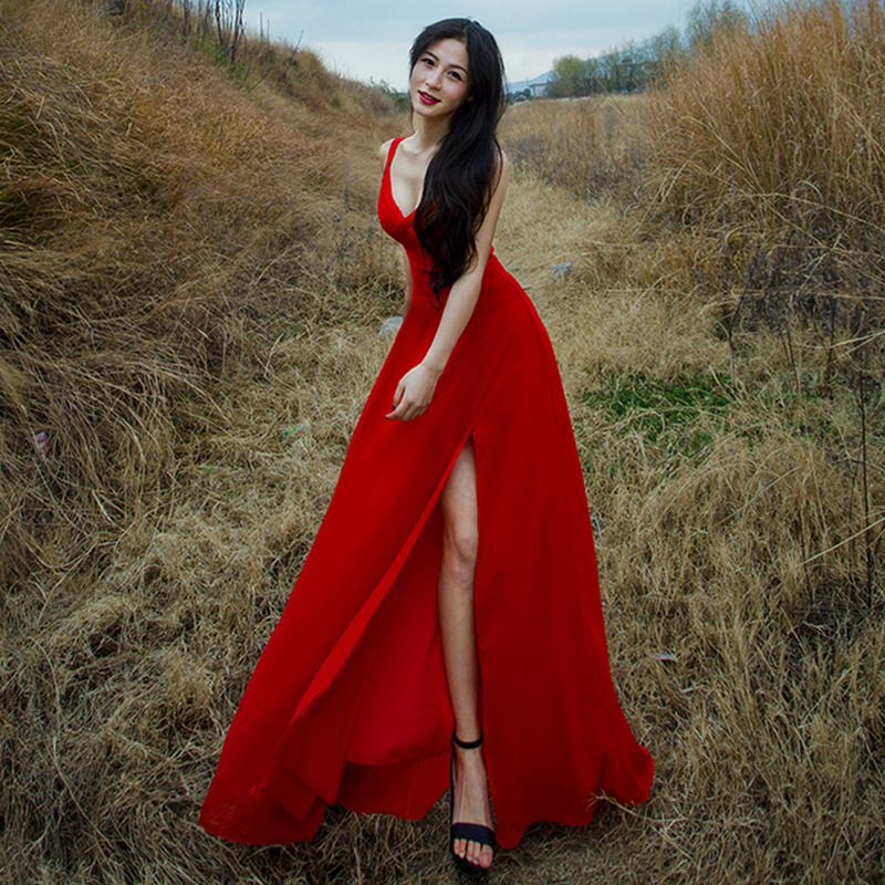 Maxi Dress 2018 Women Long Summer Sexy Red Beach Dresses Casual V-neck Sleeveless Slipt Evening Prom Club Party Dresses