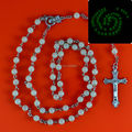 Glow in dark Rosary Beads INRI JESUS Cross Crucifix Pendant Necklace Catholic Fashion Religious jewelry Wholesale