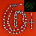 Glow in dark Rosary Beads INRI JESUS Cross Crucifix Pendant Necklace Catholic Fashion Religious jewelry Wholesale