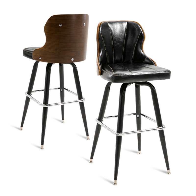 European-style Bar Stools Wood Backrest Retro Bar Stool Rotating Bar Stool Home Cafe Front Desk High Stool