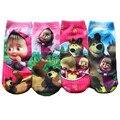 2016 Nuevas llegadas Nuevos Niños Niñas Calcetines de Algodón Niños Calcetines Meias infantil Meninas Masha Y El Oso de Dibujos Animados Calcetines 0-9Age