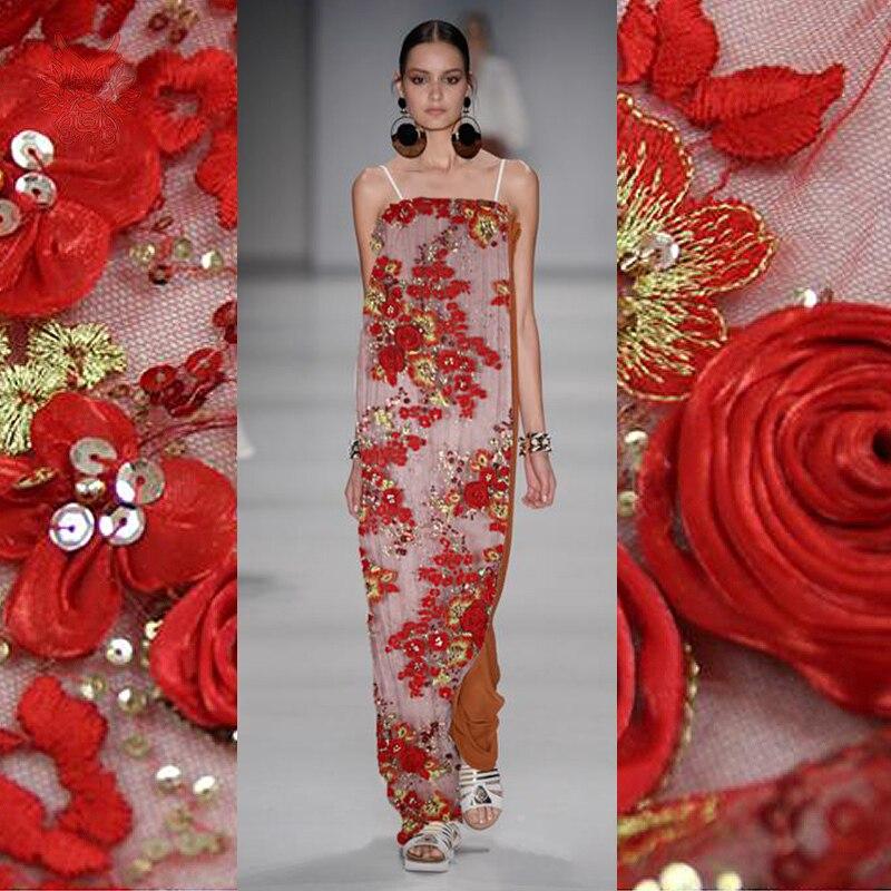 Tissu de dentelle de perles fait main rouge de luxe de concepteur de bateau gratuit pour le mariage/robe de soirée diamant/floral décorent la dentelle fabricSP2070