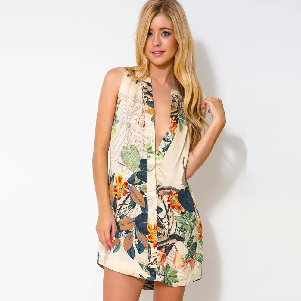 a6f48bc7e78b Fashion Mini Shirt Dress for Women Retro Floral Print Deep V Neck Button  Closure Front Asymmetric Hem Sleeveless Vestidos Green