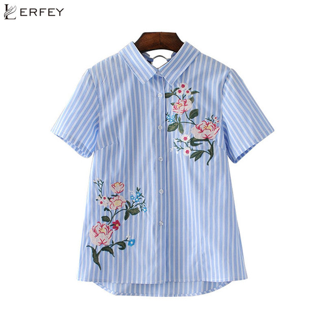 6ea87a8d LERFEY Women Floral Embroidery Striped Shirts Back cut Out Short Sleeve  Blouse Ladies Summer Casual New Shirt Tops Blusas