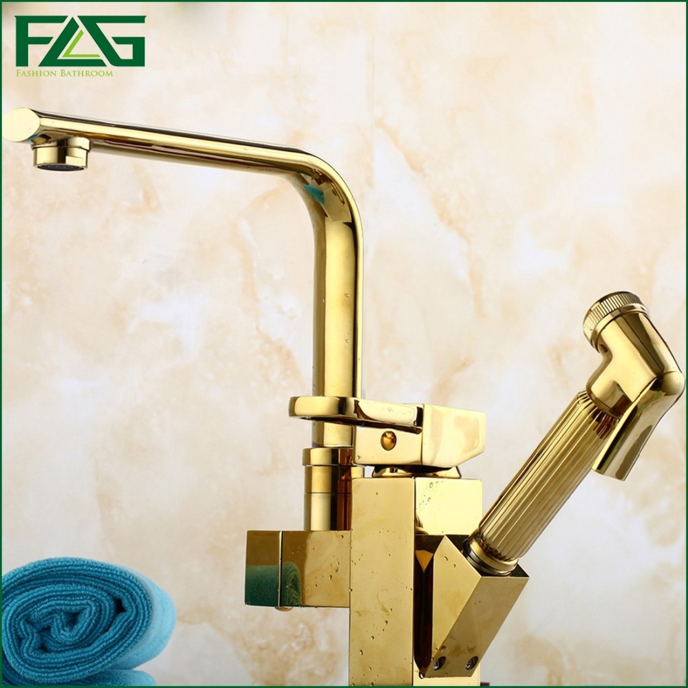 Kitchen Faucet 7 Tube Tap Gold Hand Sprayer Dual Handle Robinet Cuisine Douchette Cold And Hot