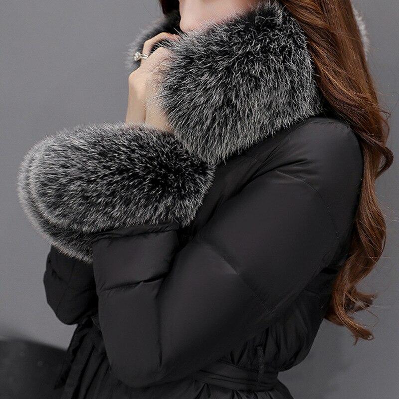 4xl Bas Long Black À Duvet Veste Blanc Le Canard Épais 2018 Vers Femelle Mode Hiver Taille Manteau Plus De St449 Fourrure Capuchon Ayunsue Faux Femmes AxESqPZPw