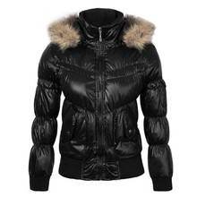 2017 Winter Womens Down Cotton Jackets with Raccoon Collar Hooded Bright Black Zipper Short Slim Maternity