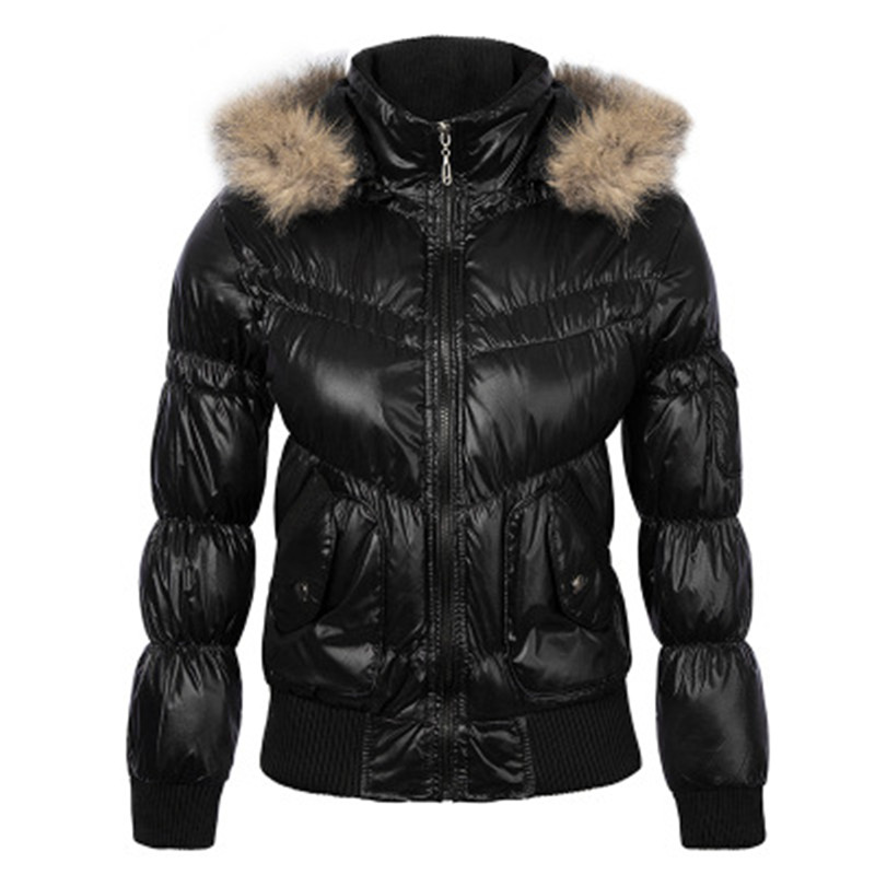 2017 Winter font b Womens b font Down Cotton Jackets with Raccoon Collar Hooded Bright Black
