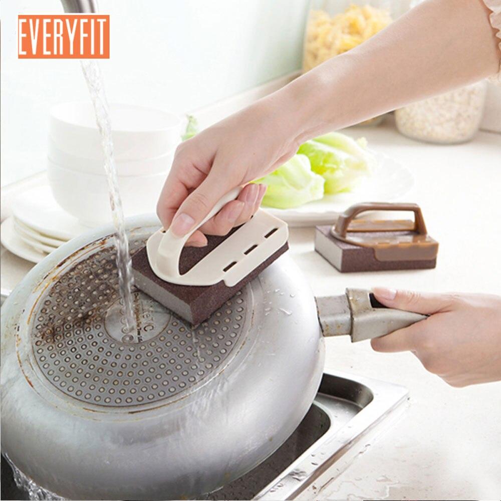 2pc Scrub Brush Dish Brush with Handle and Emery Abrasive Grit Wall Floor Bath TileTub Scrubber Pot Brush Brush Cleaning Kitchen