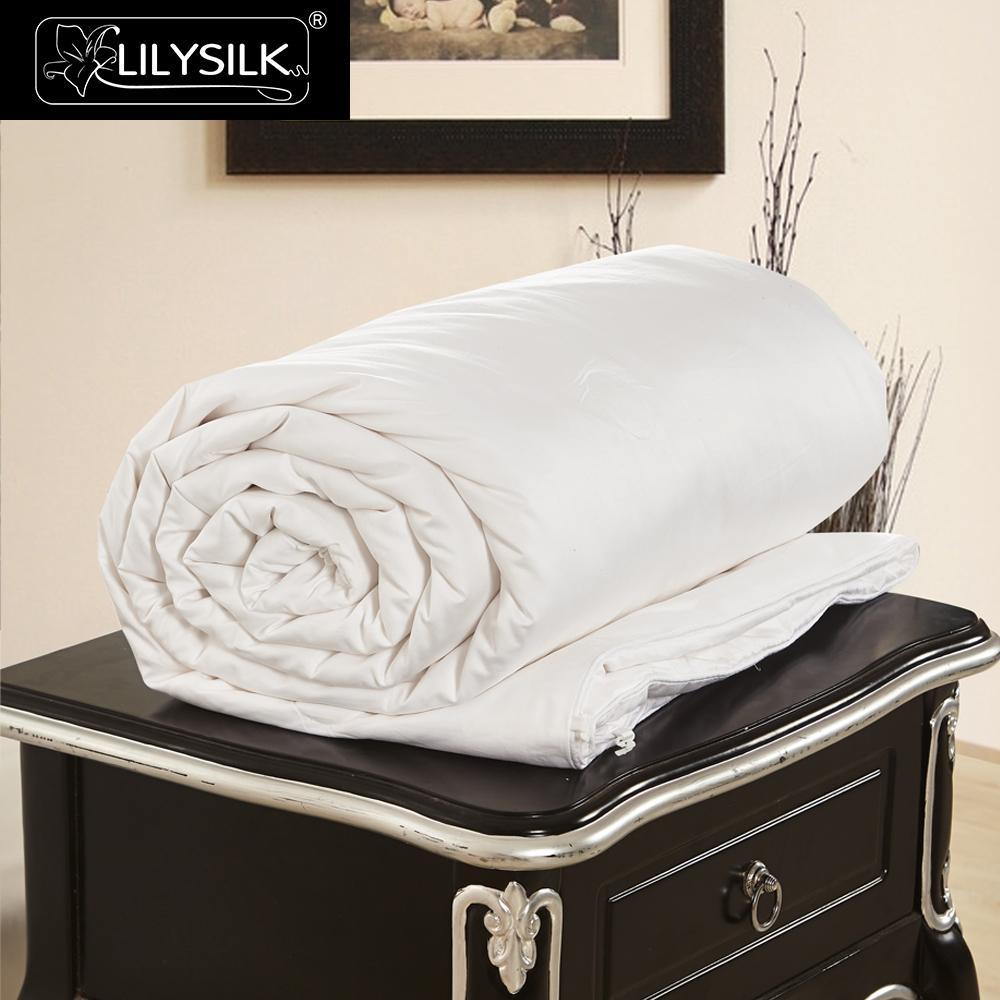 LilySilk Comforter Duvet Silk Summer Cotton Covered Pure 100 Silk Natural Quilt long strand floss Blanket