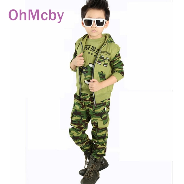 Spring Autumn Children Sport Suit Baby Boys Girls Print Camouflage Hoodis Vest Shirt and Pants 3pcs Set Kids Casual Clothes 1-5Y