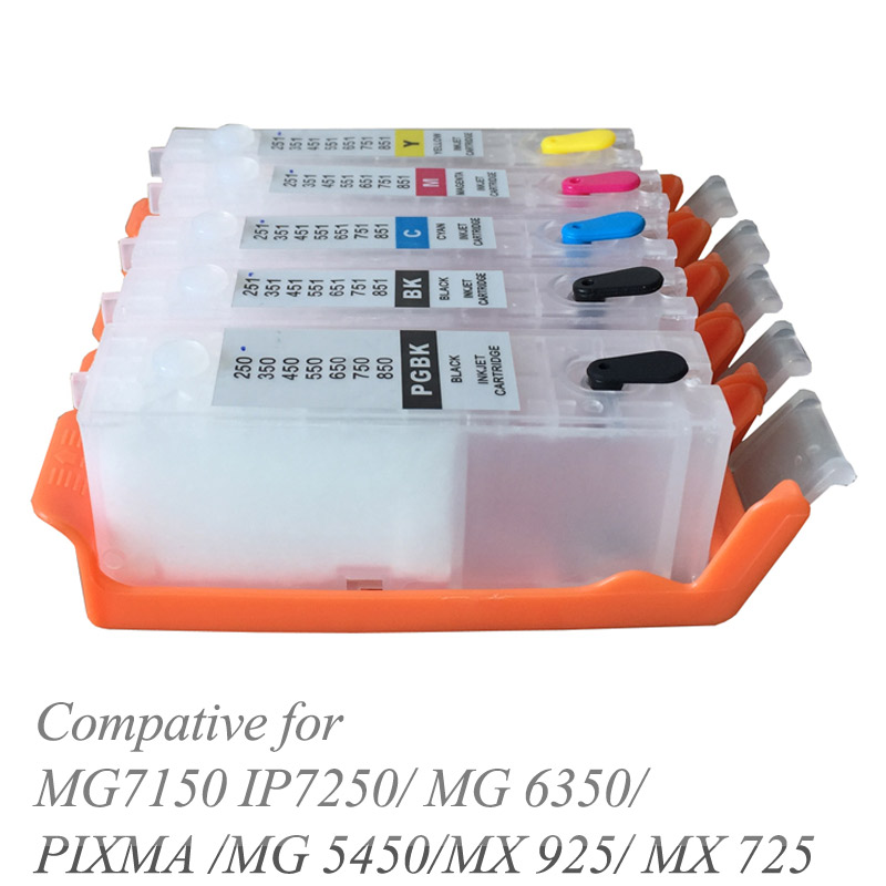 refillable Ink cartridge PGI-550 CLI-551 with ARC Chips For Canon PIXMA MG7150 IP7250/ MG 6350/PIXMA /MG 5450/MX 925/ MX 725