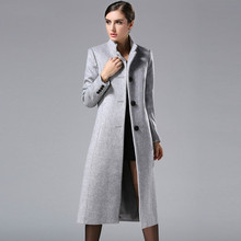 2016 Autumn Winter New Fashion Europe and America Classical Female Overcoat Stand Collar Long Woolen Coat Women Cashmere Coat