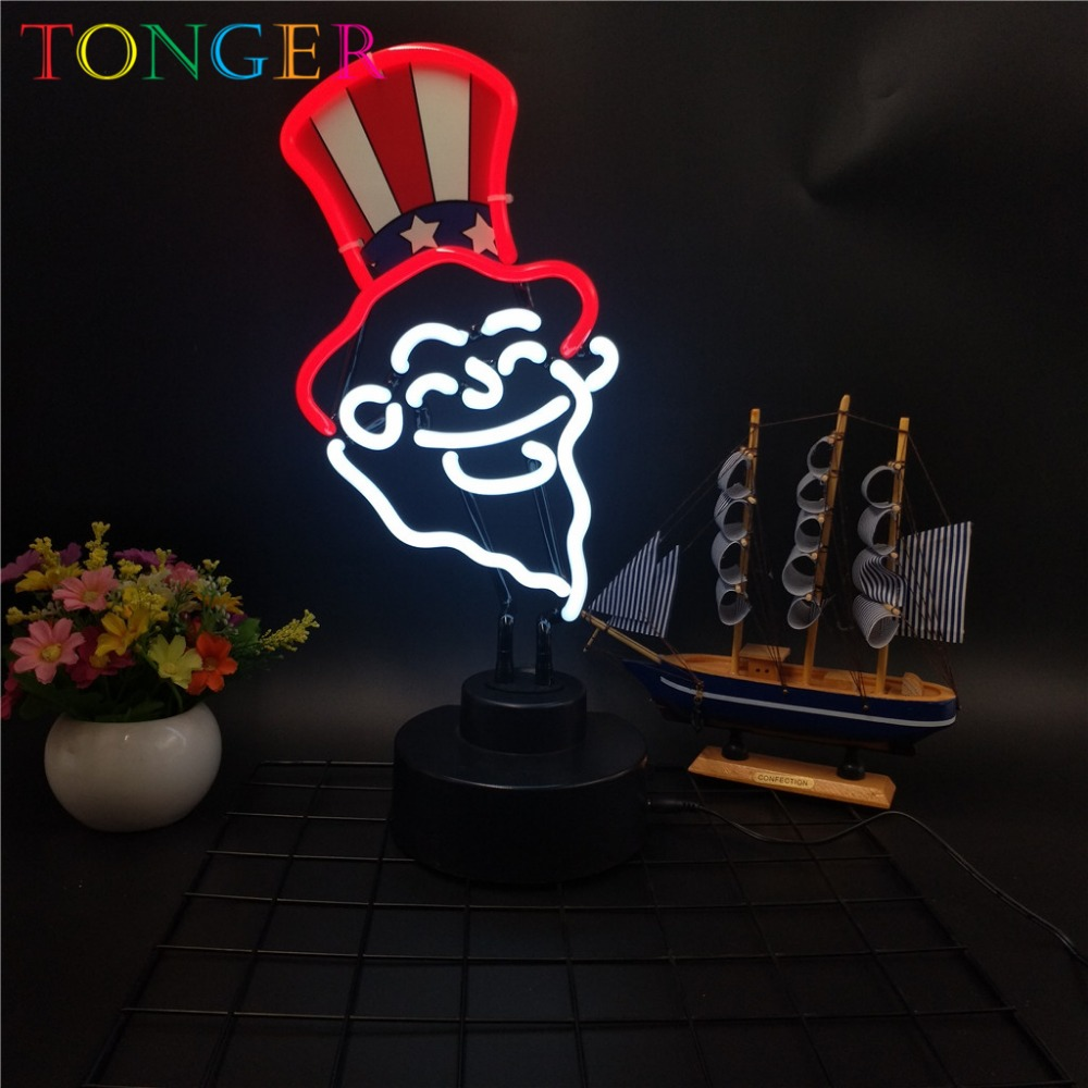 TONGER Fighting Uncle Sam Neon Light Sculpture Indoor Decor Glass Neon Holiday Party Desk Neon Tube Used Neon Sign Museum TG1008