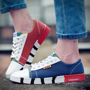 Image 2 - זאב מי אופנה גברים ג ינס בד נעלי זכר דירות נעליים יומיומיות אופנתי איש סניקרס תחרה עד נעלי תלמיד Zapatos Hombre X 059
