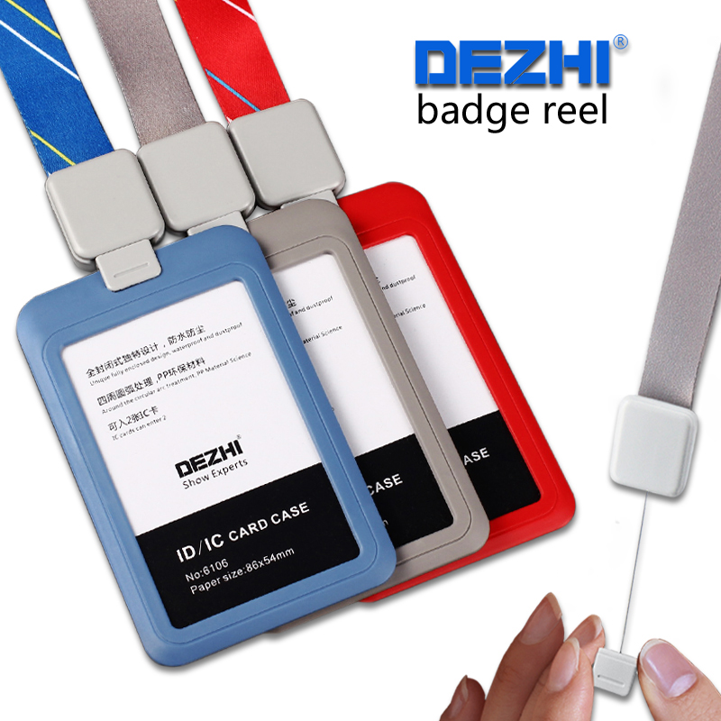 DEZHI-Retractabl Lanyard Pull Buckle with Simple Plastic ID Card Holders,PP Material Card Holders with Badge Reel for Business ac 220v 30a 1ch rf wireless remote control switch set 1 receiver 4 transmitter on off fixed code for light lamp sku 5332