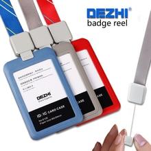 Купить с кэшбэком DEZHI-Retractabl Lanyard Pull Buckle with Simple Plastic ID Card Holders,PP Material Card Holders with Badge Reel for Business