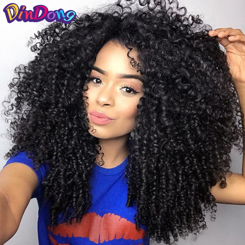 DinDong Kinky Curly Synthetic Lace Front Wigs for Black Women Afro Kinky Curly Wig 18 inch 2 Colors Available Medium Black