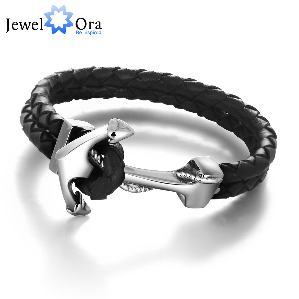 Genuine Leather Anchor Stainless Steel Bracelets & Bangles Male Punk Jewelry 215m Length Mens Bracelet (JewelOra BA101280)