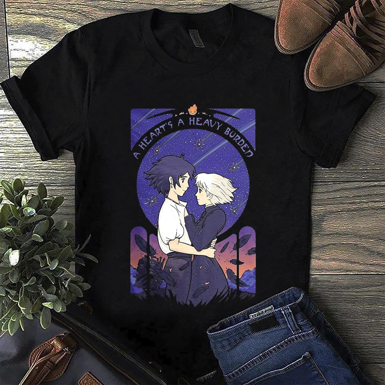 Howl'S Moving Castle A Heart'S A Heavy Burden T Shirt Black Cotton Men S 4Xl