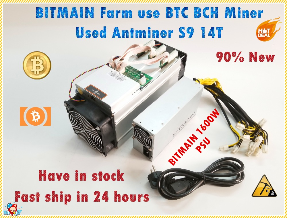 Usado S9 14TH Com BITMAIN Antminer APW3 ++ 1600 W Power Supply BCH Asic BTC Miner Better Than S9 S11 s15 T15 T9 WhatsMiner M3