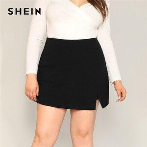 Image 1 - SHEIN 黒カジュアルスプリット詳細女性プラスサイズのショートスカート 2019 夏ジッパーバックミッドウエストショートパンツ