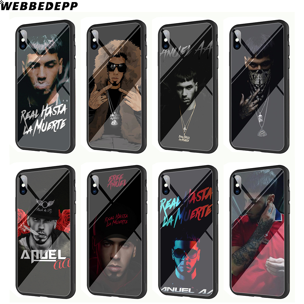 WEBBEDEPP Anuel AA Rapper Pop Tempered Glass Phone Case for Apple iPhone Xr Xs Max X or 10 8 7 6