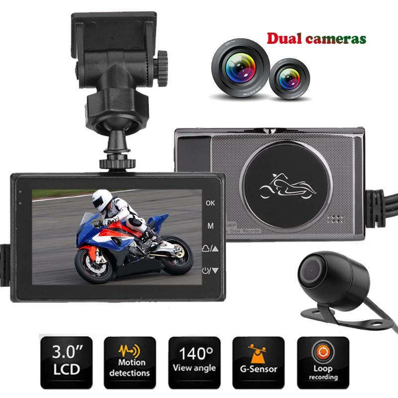 VODOOL 3 1080P HD Motorcycle DVR Camera Waterproof Front Rear View Dual Lens Motorbike Scooter Video Recorder G-sensor Dash Cam new 3 0 tft motorcycle camera dvr full hd 1080p recorder dash cam daul waterproof black front rear recorder