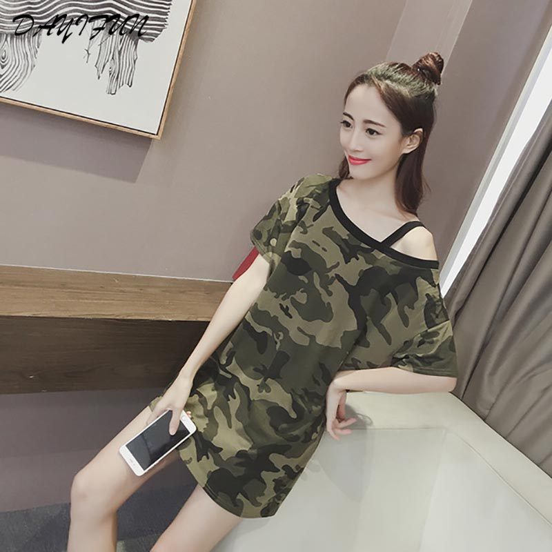 DAYIFUN Summer Strapless Camouflage Denim Fashion Sexy Short-sleeved Women Army Oblique Design Loose Plus Size Clothes 8729#k8