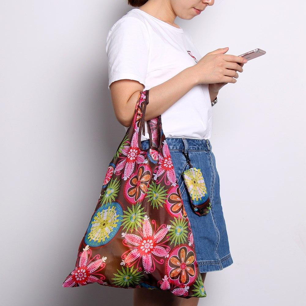 1 Pc Heißer Verkauf Einkaufstasche Zufällige Farbe Mode Faltbare Handliche Tasche Reusable Tote Beutel Recycle Polyester Lagerung Beutel Handtaschen